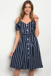 S10-10-1-D4136 NAVY WHITE STRIPES DRESS 3-2-1