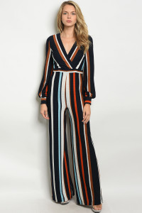 C45-A-6-J1284 NAVY BLUE STRIPES JUMPSUIT 2-2-2