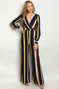 C41-A-2-J1284 NAVY YELLOW STRIPES JUMPSUIT 2-2-2