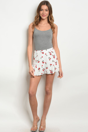 S10-17-2-NA-S74879 IVORY WITH CHERRY PRINT SHORTS 1-2-2-1