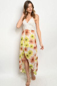 S13-11-3-D8995 CREAM YELLOW FLORAL DRESS 2-1-1