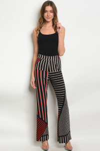 C22-A-3-P1738 BLACK RED PANTS 2-2-2