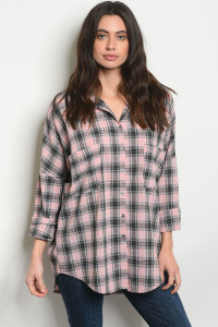 S23-12-5-T76125 PINK BLACK CHECKERED TOP 2-2-2