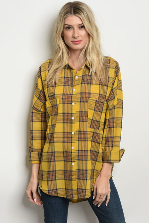 S23-12-5-T76125 MUSTARD BLUE CHECKERED TOP 2-2-2