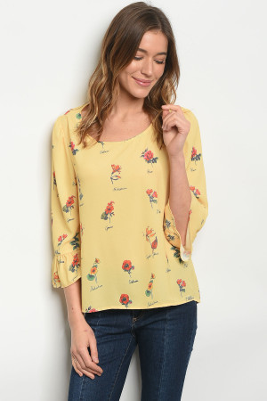 S15-8-1-T1064 YELLOW FLORAL TOP 3-2-2