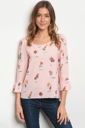 S24-8-4-T1064 PINK FLORAL TOP 2-2-2