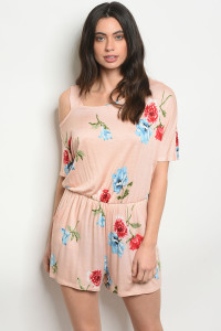 C70-A-1-R4403 PEACH WITH FLOWER PRINT ROMPER 2-3-2