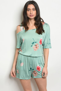 C75-A-7-R4403 MINT WITH FLOWER PRINT ROMPER 2-2-2