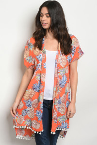 S24-7-4-C35371 ORANGE WITH PINEAPPLE PRINT KIMONO 2-2-2