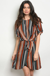 S16-10-1-D74103 BROWN MULTI DRESS 2-3-2