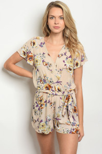 SA3-000-2-R6281 TAUPE FLORAL ROMPER 2-2-2