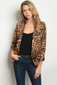 S9-19-2-B65702 BROWN ANIMAL PRINT BLAZER 3-2-2
