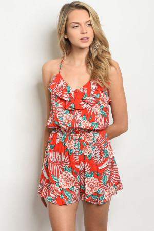 S9-19-2-R6122 RED FLORAL ROMPER 3-2-2