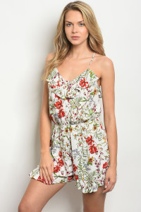 SA3-00-1-R61221 IVORY FLORAL ROMPER 2-2-2