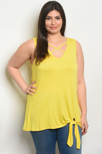 C87-A-5-T2098X YELLOW PLUS SIZE TOP 2-2-2
