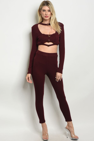 S9-15-4-SET6313 BURGUNDY TOP & PANTS SET 2-2-2
