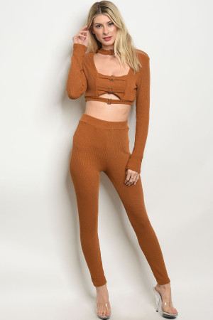 S9-15-4-SET6313 CAMEL TOP & PANTS SET 2-2-2