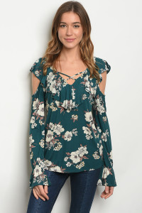 C99-B-3-T28673 GREEN FLORAL TOP 2-2-2