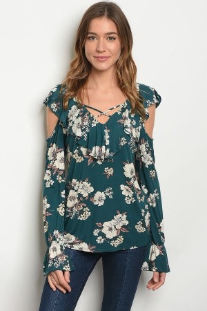 C91-B-1-T28673 GREEN FLORAL TOP 1-2-2