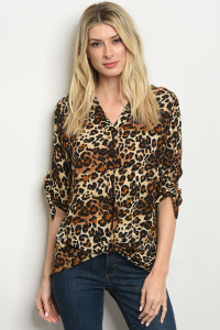 C84-B-2-T41123 BROWN LEOPARD PRINT TOP 2-2-2-1