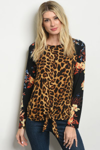 C88-B-3-T427130 BROWN BLACK WITH FLOWER LEOPARD TOP 2-2-2-1