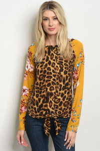 C90-B-3-T427130 BROWN MUSTARD WITH FLOWER LEOPARD TOP 2-2-2-1
