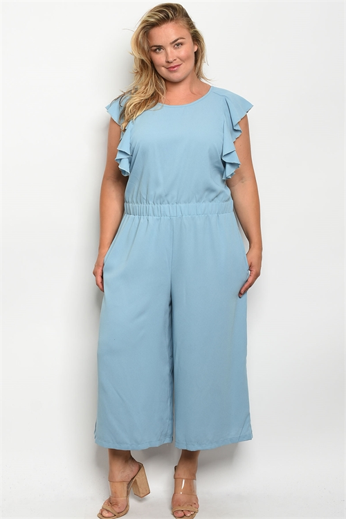 S10-7-2-J5666X BLUE PLUS SIZE JUMPSUIT 2-2-2