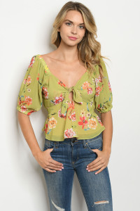 S10-11-3-T13551 LIME FLORAL TOP 3-2-1