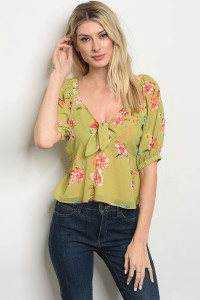 S23-13-3-T13551 LIME FLORAL TOP 4-2-1