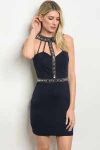 S11-3-2-D13076 NAVY WITH STONES DRESS 2-2-2