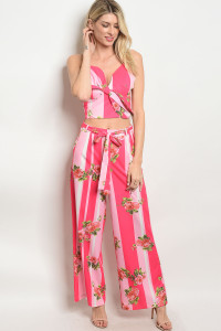 S9-14-4-SET11037 FUCHSIA PINK FLORAL TOP & PANTS SET 2-2-2
