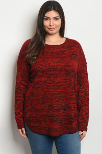 SA4-0-2-T8477X RED BLACK PLUS SIZE TOP 2-2-2