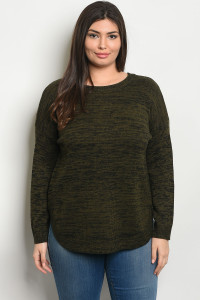 SA3-00-1-T8477X OLIVE BLACK PLUS SIZE TOP 2-2-2