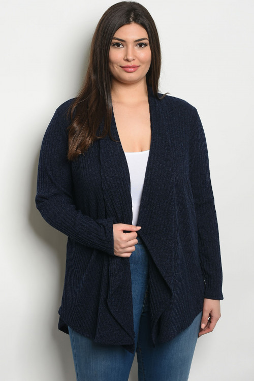 S4-3-2-C8451X NAVY PLUS SIZE CARDIGAN 2-2-2