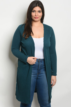 S4-3-2-C7461X TEAL PLUS SIZE CARDIGAN 2-2-2