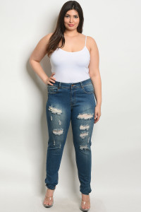S10-9-1-J7904X BLUE DENIM PLUS SIZE JEANS 2-2-2