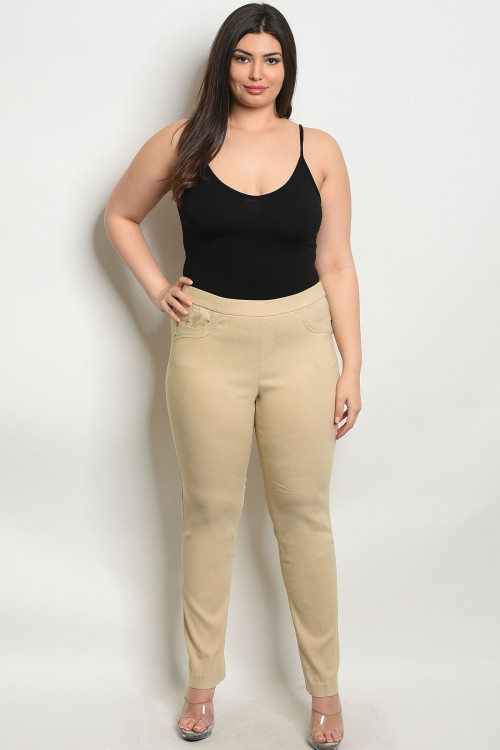 S4-3-1-P6661X KHAKI PLUS SIZE PANTS 2-2-2