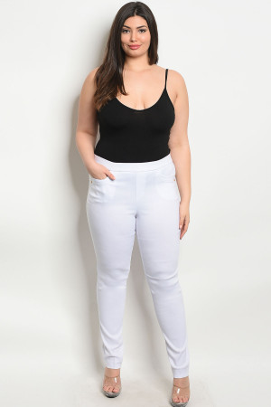 S4-3-1-P6661X WHITE PLUS SIZE PANTS 2-2-2