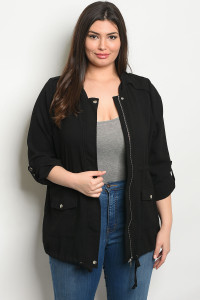 S4-3-3-J8532X BLACK PLUS SIZE JACKET 2-2-2