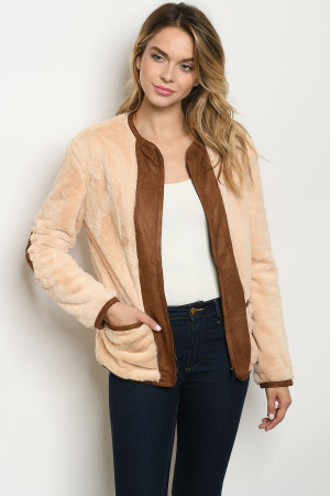 S10-12-2-J11471 CREAM BROWN JACKET 2-2-2