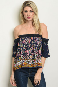 S9-11-5-T11361 NAVY FLORAL TOP 2-2-2