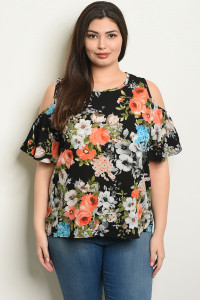 C79-B-4-T2102X BLACK WITH ROSES PRINT PLUS SIZE TOP 2-2-2