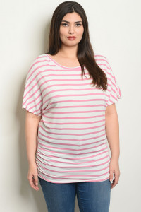 C73-A-7-T2080X IVORY PINK STRIPES PLUS SIZE TOP 2-2-2