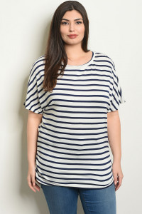 C71-A-5-T2080X IVORY NAVY STRIPES PLUS SIZE TOP 2-2-2