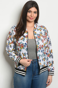 S4-3-4-J9065X WHITE FLORAL PLUS SIZE JACKET 2-2-2