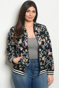 S4-3-4-J9065X BLACK FLORAL PLUS SIZE JACKET 2-2-2