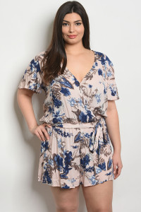 S9-2-4-R94591X BLUSH BLUE PLUS SIZE ROMPER 2-2-2