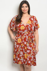 S4-3-3-D9458X EARTH FLORAL PLUS SIZE DRESS 2-2-2