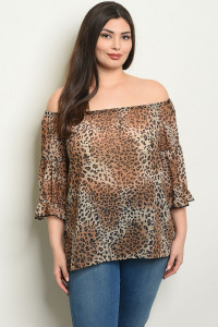 C58-B-2-T2103X BROWN ANIMAL PRINT PLUS SIZE TOP 2-2-2
