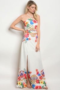 S9-10-4-SET11882 WHITE FLORAL TOP & SKIRT SET 2-2-2